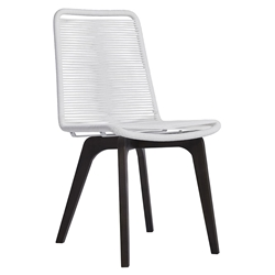 Modloft Laced Modern Indoor + Outdoor Dining Chair in White Cord + Dark Eucalyptus