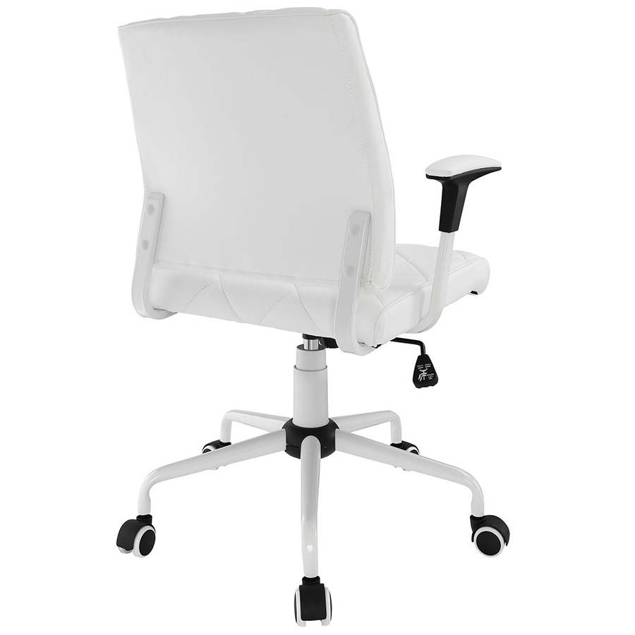Office chair back view -  Ladera Modern White Office Chair Back View