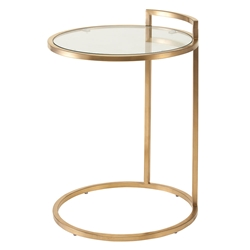 Lakeport Clear Glass + Gold Steel Round Modern Side Table