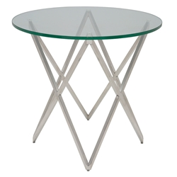 Lakeway Brushed Steel + Clear Glass Round Modern End Table