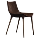 Modloft Black Langham Modern Dining Chair in Aged Mocha Leather