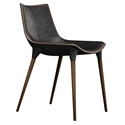 Modloft Black Langham Modern Dining Chair in Aged Onyx Genuine Leather