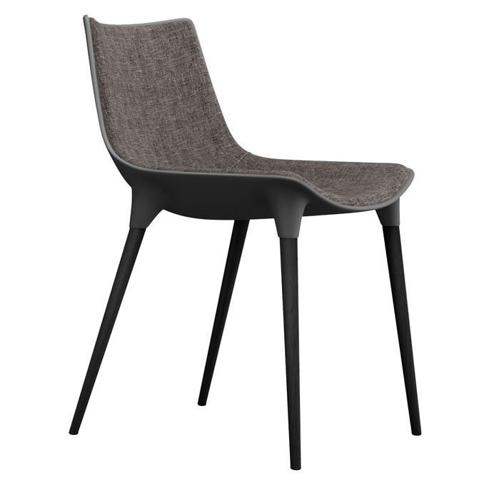 Modloft Black Langham Modern Dining Side Chair in Charcoal Denim Fabric with Black Wood Feet