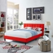 Langley Contemporary Red Fabric Full Platform Bed