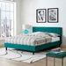 Langley Contemporary Teal Fabric Platform Bed