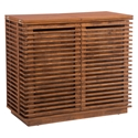 Lanier Walnut Wood Modern Bar Cabinet With Horizontal Louvers
