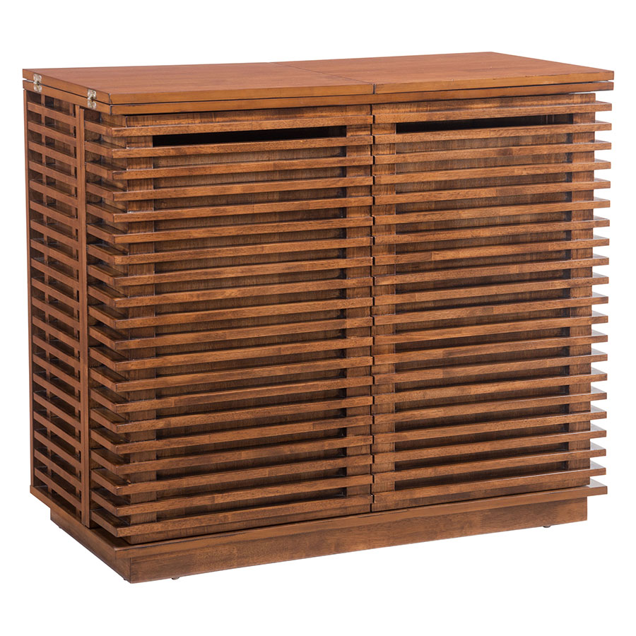 Beau Call To Order · Lanier Walnut Wood Modern Bar Cabinet With Horizontal  Louvers