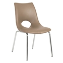 Lara Modern Tan + Chrome Side Dining Chair