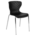 Laredo Modern Plastic + Chrome Stacking Chair in Black