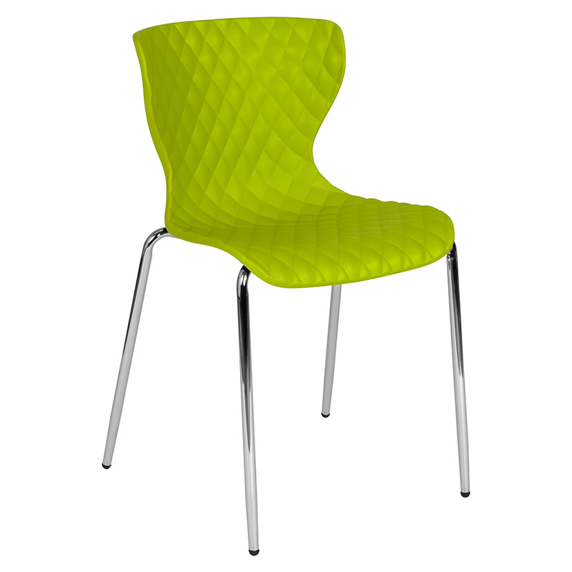 Laredo Modern Plastic + Chrome Stacking Chair in Green