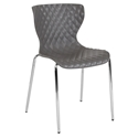 Laredo Modern Plastic + Chrome Stacking Chair in Gray
