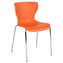 Laredo Modern Plastic + Chrome Stacking Chair in Orange