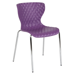 Laredo Modern Plastic + Chrome Stacking Chair in Purple