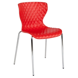 Laredo Modern Plastic + Chrome Stacking Chair in Red