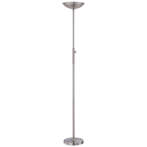 Larissa Polished Steel LED Modern Torchiere Floor Lamp