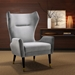 Larroque Contemporary Wingback Chair in Gray Velvet