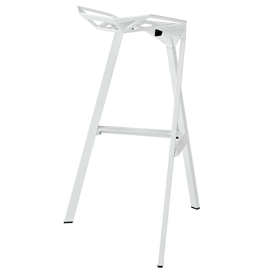 Laurel White Ultra Modern Indoor/Outdoor Bar Stool - Back View