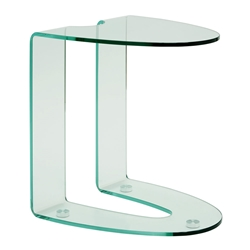 Lavon Clear Bent Glass Modern End Table