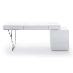 League Modern White Desk w/ Cabinet
