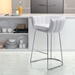 Leandra White Leatherette + Brushed Steel Modern Bar Height Stool