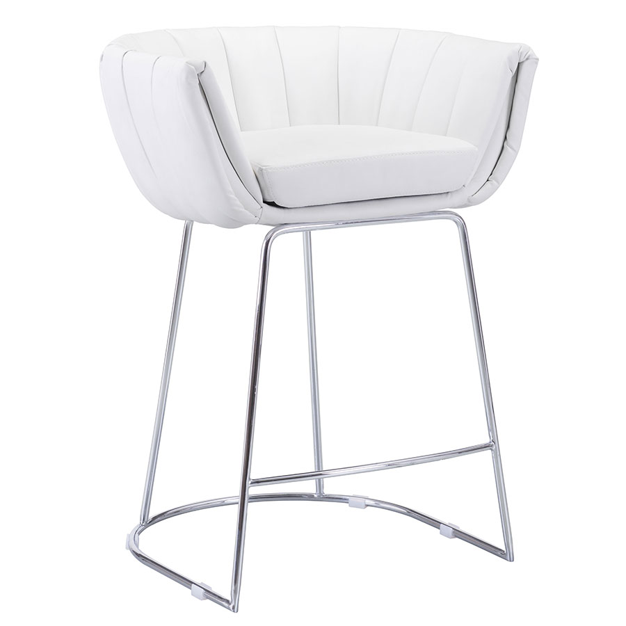 Leandra White Modern Counter Stool