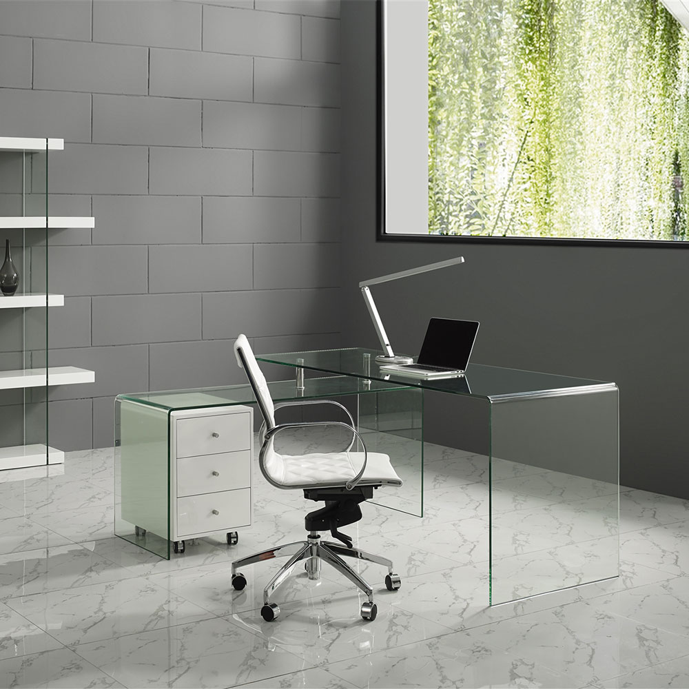 Leary White Faux Leather Chrome Modern Commercial Grade Office Chair Lifestyle