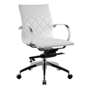 Leary White Faux Leather + Chrome Modern Commercial Grade Office Chair