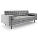 Lebron Gray Fabric + Wood Leg Mid Century Modern Sofa