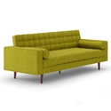 Lebron Green Fabric + Solid Wood Mid Century Modern Sofa