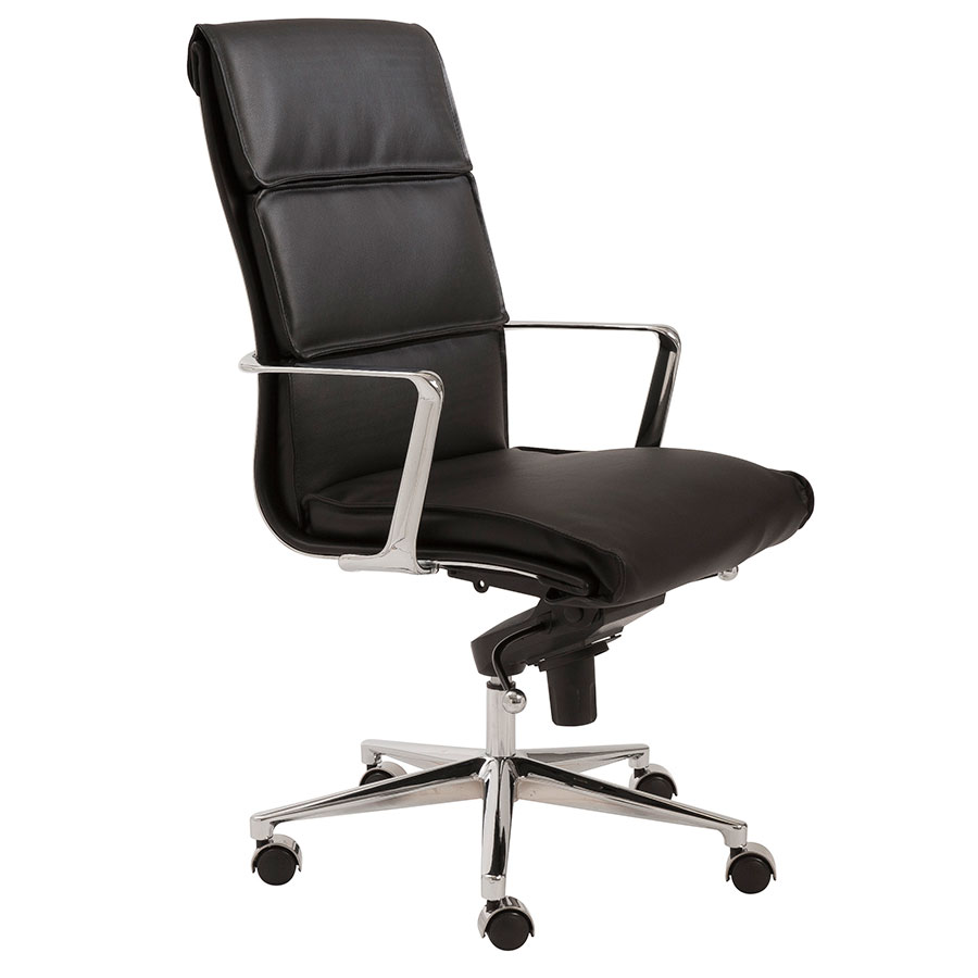leif black high back office chair by euro style eurway. Black Bedroom Furniture Sets. Home Design Ideas