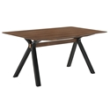 Lennox Modern 63 inch Walnut + Black Dining Table