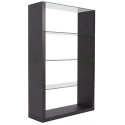 Lennox Modern Wenge + Glass Shelving Unit