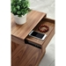 Leno Walnut Modern End Table + Nightstand - Drawer Detail