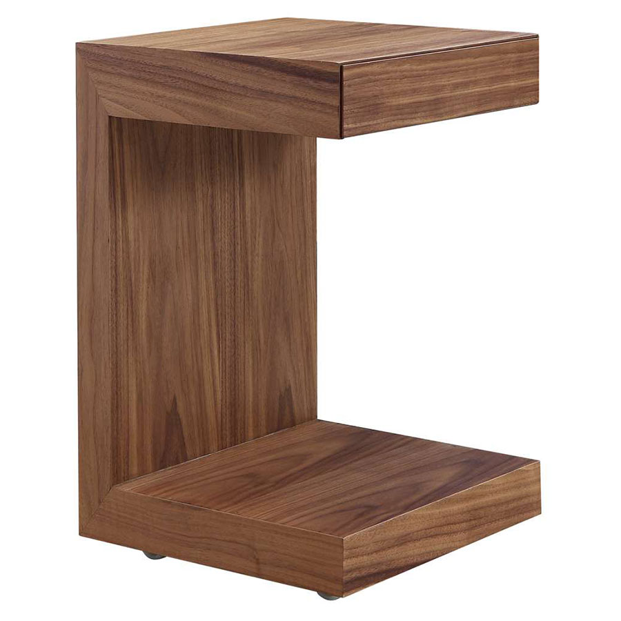 Leno Walnut Modern Nightstand + End Table