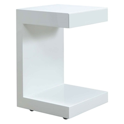 Leno White Modern Nightstand + End Table