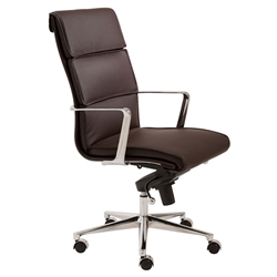 Leonard Brown Faux Leather + Chrome Modern High Back Office Chair