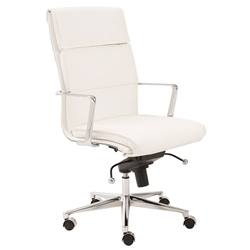 Leonard White Faux Leather + Chrome Modern High Back Office Chair
