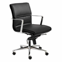 Leonard Black Faux Leather + Chrome Modern Office Chair