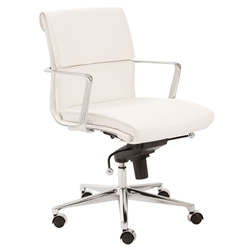 Leonard White Faux Leather + Chrome Modern Office Chair