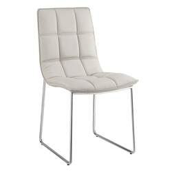 Leonardo Gray Faux Leather + Chrome Modern Dining Side Chair