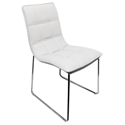 Leonardo White Faux Leather + Chrome Modern Dining Side Chair