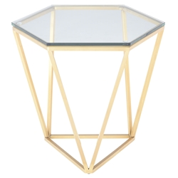 Leroy Gold Metal + Clear Glass Modern Hexagonal Side Table