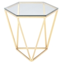 Louisa Gold Metal + Clear Glass Modern Hexagonal Side Table