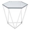 Leroy Polished Steel + Clear Glass Hexagonal Modern Side Table
