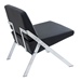 Leticia Black Leatherette + Chrome Contemporary Chair