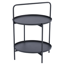 Leve Black Steel 2 Tier Modern End Table