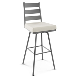 Level Modern Swivel Bar Stool by Amisco in Magnetite + Blizzard