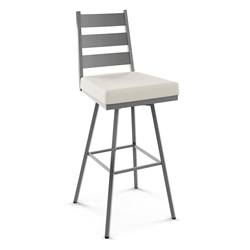 Level Modern Swivel Counter Stool by Amisco in Magnetite + Blizzard