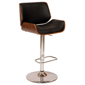 Levi Contemporary Adjustable Black + Walnut Stool