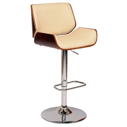 Levi Contemporary Adjustable Cream + Walnut Stool